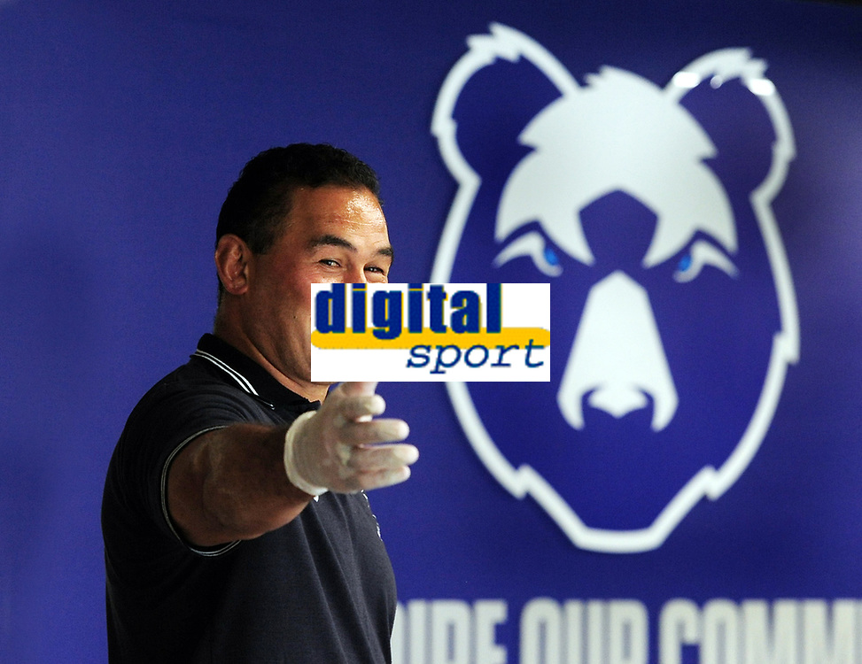 Rugby Union - 2020 - Premiership - Bristol Bears<br /> <br /> Pat Lam - Head Coach of Bristol Bears, standing in the main entrance, beside one of 13 motivational phrases that he has added to the walls of the  training centre at the new Bristol Bears Training facility<br /> <br /> Credit: COLORSPORT/ANDREW COWIE