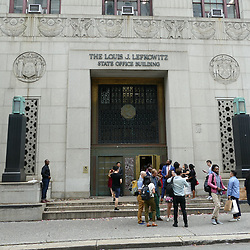General views of the Louis J. Lefkowitz State Office Building in New York, also known as the Marriage Bureau.This is the courthouse where Justin Bieber and Hailey Baldwin were reportedly married. 14 Sep 2018 Pictured: General view. Photo credit: KAT / MEGA TheMegaAgency.com +1 888 505 6342