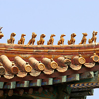 Asia, China, Beijing. Forbidden Palace roof ornamentation.