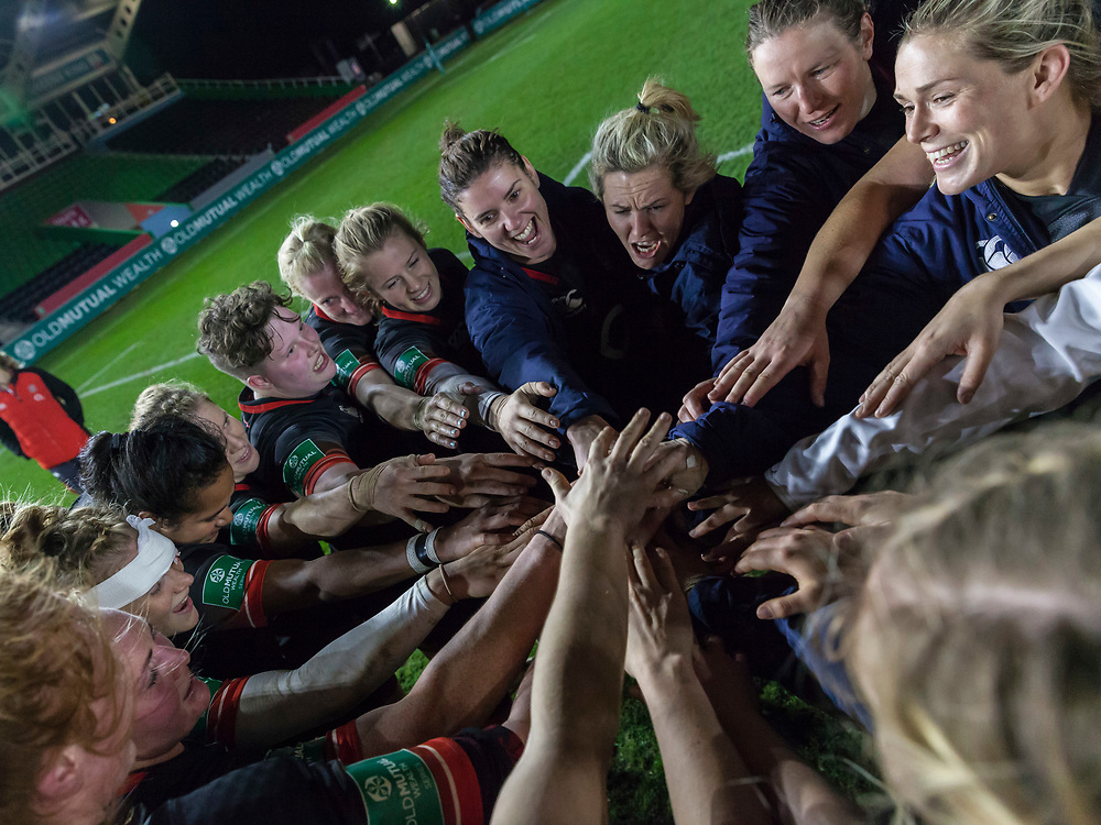 Happy faces at the end of the post match ream huddle, England Women v Canada in an Autumn International match at The Stoop, Twickenham, London, England, on 21st November 2017 Final score 49-12