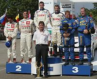 Motor<br /> Foto: Dppi/Digitalsport<br /> NORWAY ONLY<br /> <br /> WRC 2003 - ACROPOLIS RALLY - LAMIA 20030608<br /> <br /> PODIUM<br /> MARKKO MARTIN - MICHAEL PARK / FORD - CARLO SAINZ - MARC MARTI / CITROEN XSARA - PETTER SOLBERG - PHIL MILLS / SUBARU - MALCOLM WILSON AMBIANCE PORTRAIT<br /> <br /> PARK OMKOM UNDER RALLY WALES 18.09.2005