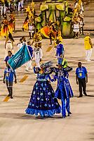 Stilt walkers, Carnaval parade of Academicos da Rocinha samba school in the Sambadrome, Rio de Janeiro, Brazil.