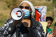 The mother of Derek Stephen Buchanan, who died in police custody in 1988, addresses local people taking part in a peaceful protest in solidarity with the Black Lives Matter movement on 13th June 2020 in Salt Hill Park in Slough, United Kingdom. Protests in solidarity with the Black Lives Matter movement have taken place across the United States and in many countries around the world.