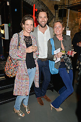 Left to right, CECILIA SELBY and TOM & LEXI HILL NORTON at Fork to Fork - a Fundraising Feast to support The Open Air Classroom Project held at The Dock Kitchen, Portobello Docks, 342-344 Ladbroke Grove, London on 19th May 2015.