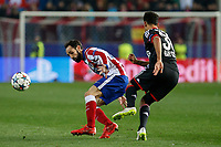 Atletico de Madrid´s Juanfran (L) and Bayer 04 Leverkusen´s Bellarabi during the UEFA Champions League round of 16 second leg match between Atletico de Madrid and Bayer 04 Leverkusen at Vicente Calderon stadium in Madrid, Spain. March 17, 2015. (ALTERPHOTOS/Victor Blanco)