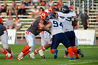 KELOWNA, BC - AUGUST 3:  JJ Heaton #62 of Okanagan Sun tackles Mixon Madland LB #94 of Kamloops Broncos  at the Apple Bowl on August 3, 2019 in Kelowna, Canada. (Photo by Marissa Baecker/Shoot the Breeze)