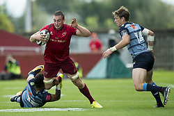 September 30, 2017 - Limerick, Ireland - Tommy O'Donnell of Munster tackled by Willis Halaholo of Cardiff during the Guinness PRO14 Conference A Round 5 match between Munster Rugby and Cardiff Blues at Thomond Park in Limerick, Ireland on September 30, 2017  (Credit Image: © Andrew Surma/NurPhoto via ZUMA Press)