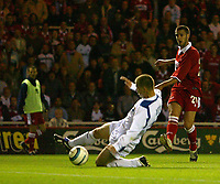 Photo. Andrew Unwin.<br /> Middlesbrough v Banik Ostrava, UEFA Cup, First Round, First Leg, Riverside Stadium, Middlesbrough 16/09/2004.<br /> Banik Ostrava's Pavel Besta (C) cannot prevent Middlesbrough's Stuart Parnaby (R) from putting in a shot on goal<br /> NORWAY ONLY