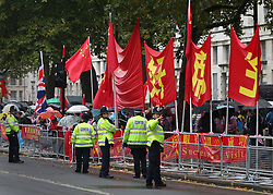 © Licensed to London News Pictures. 21/10/2015. London, UK. Police keep watch as Prime Minister David Cameron meets with Chinese President Xi Jinping in Downing Street. Photo credit: Peter Macdiarmid/LNP