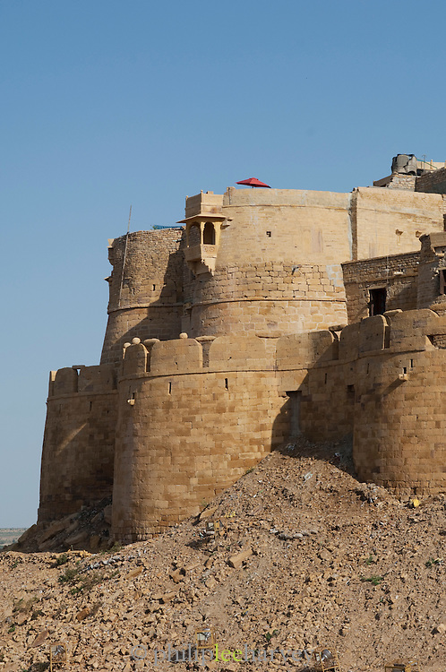 Jaisalmer Fort, the 'Golden Fort'. It is one of the largest forts in the world. Jaisalmer, Rajasthan, India