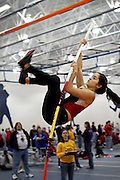 Sachi Graber '12 makes a successful pole vault attempt at 2.45m, giving her a second place finish in last Saturday's Dennis Young Indoor Track meet in Storm Lake, IA.