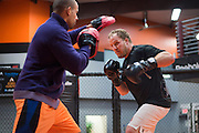Jared Rosholt trains in Pantego, Texas on January 26, 2016.
