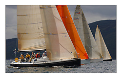 Yachting- The first days inshore racing  of the Bell Lawrie Scottish series 2003 at Tarbert Loch Fyne. Light shifty winds dominated the racing...GBR8833R Nimmo, a Dubois 37 from Galway to lee of the Class one fleet heading upwind...Pics Marc Turner / PFM