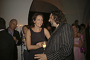 Saffron Aldridge and Keith Tyson, VIP opening of Bill Viola exhibition Love/Death: The Tristan project. Haunch of Venison, St Olave's College, Tooley St. London and Dinner afterwards at Banqueting House. Whitehall. 19 June 2006. ONE TIME USE ONLY - DO NOT ARCHIVE  © Copyright Photograph by Dafydd Jones 66 Stockwell Park Rd. London SW9 0DA Tel 020 7733 0108 www.dafjones.com