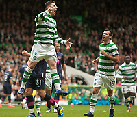Football - Scottish Premier League -  Celtic vs. Hearts <br /> <br /> Gary Hooper of Celtic celebrates scoring his hat-trick against Hearts  during the Celtic vs. Hearts Scottish Premier League match at Celtic Park, Glasgow on May 13th 2012.<br /> <br /> Colorsport