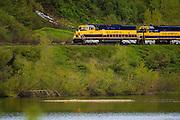 The Alaska Railroad takes a scenic route through the Chugach mountains