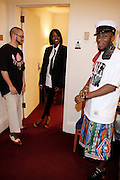 l to r: DJ Preservation, Renee Neuville and Mos Def  at Mos Def Presents: Amino Alkaline - The Watermelon Syndicate with special guest Gil Scott Heron, Produced by Jill Newman Productions held at The JVC JAZZ FESTIVAL/CARNEGIE HALL on JUNE 28. . A consummate emcee, vocalist, musician and actor, it was no surprise when Mos Def premiered the Mos Def Big Band in January 2007, drawing from original compositions plus material by Miles Davis, Beyoncé, James Brown and Gil-Scott Heron. Always willing to bend genres to create his own sound, Mos lithely dances among hip hop, jazz and soul while fronting his orchestra of savvy musicians. His face is as familiar as his sound; his acting credits include Be Kind Rewind, 16 Blocks, Something the Lord Made, Lackawanna Blues and Top Dog/Underdog.  America started hearing Gil Scott-Heron?s messages in 1970, but we heard him loudly and clearly when he declared ?The Revolution Will Not Be Televised? in 1974. A no-nonsense performer and lyricist, he wasn?t called a rapper then, but that?s what he was. Today, his younger counterparts and fans call him the king of spoken word.