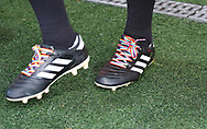 Rainbow laces worn by Referee Oliver Langford part of the Rainbow Laces campaign to promote LGBT inclusivity in football, during the EFL Sky Bet League 1 match between Fleetwood Town and Blackpool at the Highbury Stadium, Fleetwood, England on 25 November 2017. Photo by Paul Thompson.