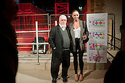 STELLA MCCARTNEY; SIR PETER BLAKE, Stella McCartney, Sir Peter Blake, Nigel Carrington and Jane Rapley host a hard-hat party in the building site for the future home of Central St. Martin's. The Granary Building complex in King's Cross. London. 17 September 2009