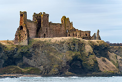 View of Tantallon Castle from the Bach in East Lothian, Scotland, United Kingdom