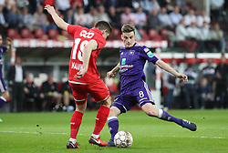 April 18, 2018 - Liege, BELGIUM - Standard's Razvan Marin and Anderlecht's Pieter Gerkens fight for the ball during the Jupiler Pro League match between Standard de Liege and RSCA Anderlecht, in Liege, Wednesday 18 April 2018, on day four of the Play-Off 1 of the Belgian soccer championship. BELGA PHOTO VIRGINIE LEFOUR (Credit Image: © Virginie Lefour/Belga via ZUMA Press)