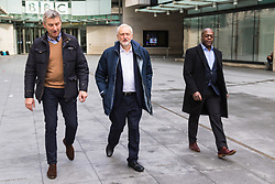 London, January 28 2018. Labour Leader Jeremy Corbyn leaves the BBC's New Broadcasting House in London after appearing on the Andrew Marr Show. © Paul Davey