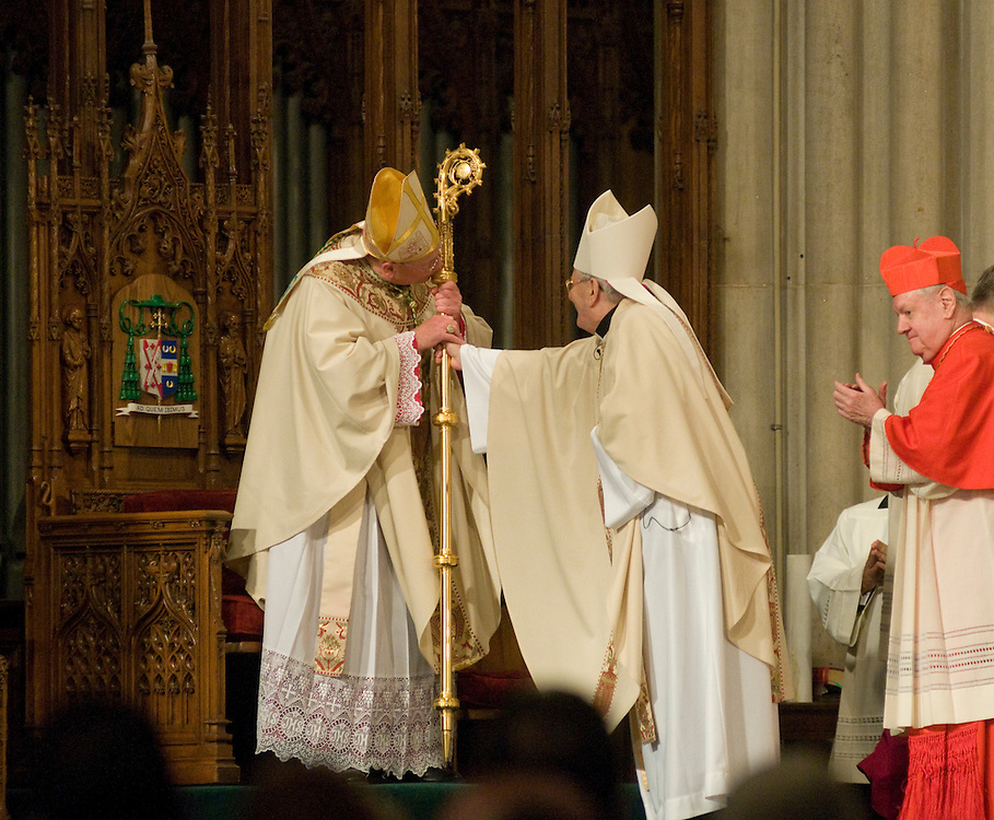 Archbishop Dolan is seated in the cathedra during the installation mass, Wednesday April 15 2009.