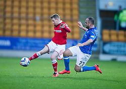 Ross County's Michael Gardyne and St Johnstone's Lee Croft.<br /> half time : St Johnstone 1 v 0 Ross County, Scottish Premiership 22/11/2014 at St Johnstone's home ground, McDiarmid Park.