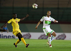 June 7, 2017 - Blida, Algiers, Algeria - Bangoura Alkhaly (L) of Guinea vies Guedioura Adléne (R) of Algeria during their friendly international football match between Algeria and Guinée the Mustapha Tchaker stadium in Blida on June 06, 2017. (Credit Image: © Billal Bensalem/NurPhoto via ZUMA Press)