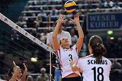 10.10.2010, Bremen Arena, Bremen, GER, Vorbereitung Volleyball WM Frauen 2010, Laenderspiel Deutschland ( GER ) vs. Tuerkei ( TUR ), im Bild Denise Hanke (#3 GER), Nadja Schaus (#18 GER). EXPA Pictures © 2010, PhotoCredit: EXPA/ nph/   Conny Kurth+++++ ATTENTION - OUT OF GER +++++