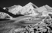 Chomolungma, Mt Everest, Lhotse to left from peak above Kharta glacier, Tibet