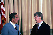 President Carter and General Omar Torrijos at the Panama Canal Treaty signing on September 7, 1977<br /> Photo by Dennis Brack