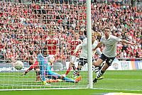 GOAL - Preston North End's Paul Huntington scores his sides second goal <br /> <br /> Photographer Craig Thomas/CameraSport<br /> <br /> Football - The Football League Sky Bet League One Play-Off Final - Preston North End v Swindon Town - Sunday 24th May 2015 - Wembley Stradium - London<br /> <br /> © CameraSport - 43 Linden Ave. Countesthorpe. Leicester. England. LE8 5PG - Tel: +44 (0) 116 277 4147 - admin@camerasport.com - www.camerasport.com