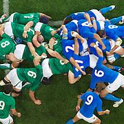 Italian scrum half Fabio Semenzato feeds the scrum during the Ireland V Italy Pool C match during the IRB Rugby World Cup tournament. Otago Stadium, Dunedin, New Zealand, 2nd October 2011. Photo Tim Clayton...