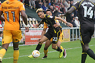 Crewe Alexandra's  Alex Kiwomya ©  beats Newport's Jazzi Barnum-Bobb to the ball. Skybet EFL league two match, Newport county v Crewe Alexandra at Rodney Parade in Newport, South Wales on Saturday 20th August 2016.<br /> pic by David Richards, Andrew Orchard sports photography.