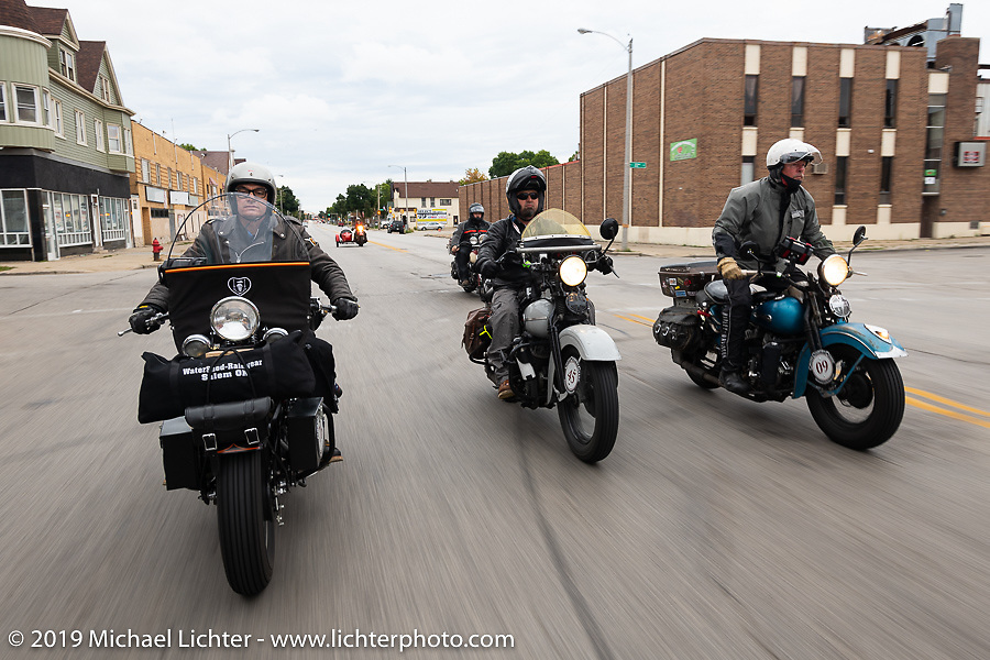 Jeff Milburn (L), Rodney Sterling (Center) and Chris Tribbey (R) during the Cross Country Chase motorcycle endurance run from Sault Sainte Marie, MI to Key West, FL (for vintage bikes from 1930-1948). Stage 3 from Milwaukee, WI to Urbana, IL. USA. Sunday, September 8, 2019. Photography ©2019 Michael Lichter.