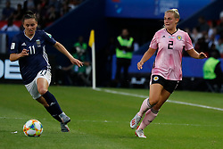 Scotland's Kirsty Smith battling Argentina's Florencia Bonsegundo during the FIFA Women's soccer World Cup 2019 Group D match, Scotland v Argentina at Parc des Princes stadium in Paris, France on June 19, 2019. Scotland and Argentina drew 3-3. Photo by Henri Szwarc/ABACAPRESS.COM