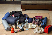 gear needed for a camping trip ready for packing