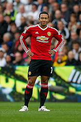 Memphis Depay of Manchester United looks on - Mandatory byline: Rogan Thomson/JMP - 07966 386802 - 30/08/2015 - FOOTBALL - Liberty Stadium - Swansea, Wales - Swansea City v Manchester United - Barclays Premier League.