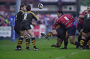 Photo - Peter Spurrier<br /> 04/01/03<br /> Rob HOWLEY, set to collect the pass, Gloucester, Gloucestershire, UK., 04.01.2003,  during, Zurich Premiership Rugby match, Gloucester vs London Wasps,  Kingsholm Stadium,  [Mandatory Credit: Peter Spurrier/Intersport Images],