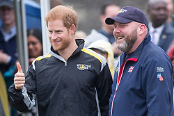 Prince Harry stands with a member of team United Kingdom as he attends the Archery finals of the Invictus Games in Toronto, ON, Canada, on Friday September 29, 2017. Photo by Chris Young/CP/ABACAPRESS.COM