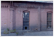 Detail view of back wall and windows of Durango roundhouse.<br /> D&RGW  Durango, CO