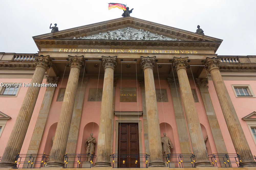 Exterior of Berlin Opera House (Staatsoper)  after renovations in Berlin, Germany.