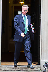 London, July 4th 2017. Secretary of State for Environment, Food and Rural Affairs Michael Gove leaves the weekly cabinet meeting at 10 Downing Street in London.