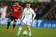 Roque Mesa of Swansea city (c)  in action. EFL Carabao Cup 4th round match, Swansea city v Manchester Utd at the Liberty Stadium in Swansea, South Wales on Tuesday 24th October 2017.<br /> pic by  Andrew Orchard, Andrew Orchard sports photography.