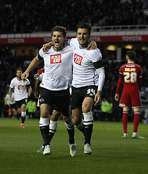 George Thorne of Derby County (R) celebrates scoring his sides first goal - Mandatory byline: Jack Phillips / JMP - 07966386802 - 21/11/2015 - FOOTBALL - The iPro Stadium - Derby, Derbyshire - Derby County v Cardiff City - Sky Bet Championship