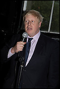 BORIS JOHNSON, Launch of Rachel Kelly's memoir 'Black Rainbow' about recovering from depression with the help of poetry published by Hodder & Stoughton , ( Author proceeds will be given to the charities SANE and United Response ). Cafe of the National Gallery.  London. 7 May 2014