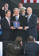 l to r: Richard T. Santulli, President George W. Bush and Charles de Gunzburg at The 2008 Veterans Day  Ceremonies at the Intrepid Sea, Air, & Space Musem on November 11, 2008 in NYC