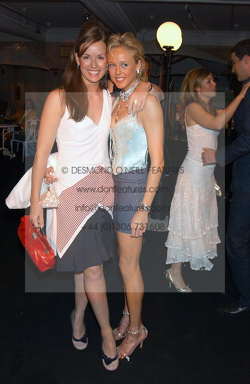 Left to right, LADY ROSE INNES-KER daughter of the 10th Duke of Roxburghe and LADY ALEXANDRA SPENCER-CHURCHILL at a party to celebrate 'Made in Italy at Harrods' - a celebration of Italian fashion food and wine, design and interiors, art and photography, cinema and music, beauty and glamour.  The party was held in the Georgian Restaurant at Harrods, Knightsbridge, London on 9th September 2004.<br />