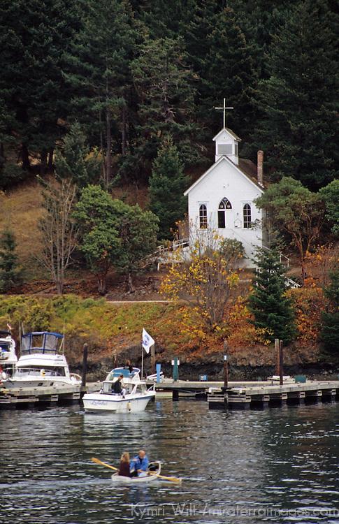 North America, USA, Washington. Our Lady of  Good Voyage church at Roche Harbor on San Juan Island.